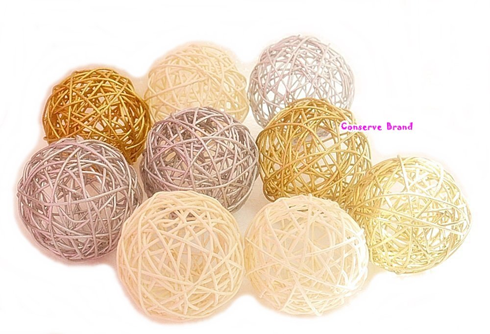 Thailand's Gifts : Gold, Silver, White Medium Rattan Ball, Wicker Balls, DIY Vase And Bowl Filler Ornament, Decorative spheres balls, Perfect For Decoration And Party 3-3.5 inch, 9 Pcs. Conserve Factory Boll 36