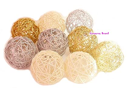 Amazon Thailand's Gifts Gold Silver White Medium Rattan Awesome Silver Balls Decor
