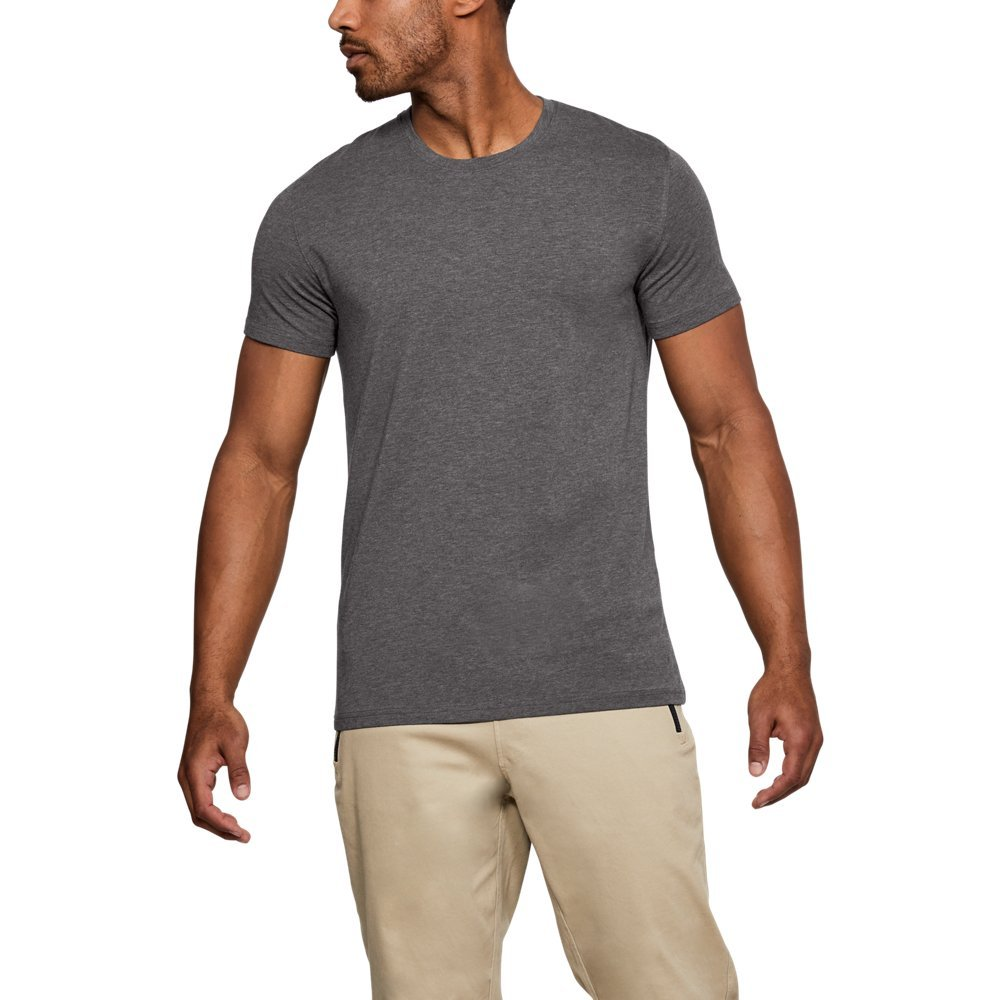 Under Armour Men's Charged Cotton Crew Under Shirt, Charcoal Medium Heat (019)/Charcoal, Small