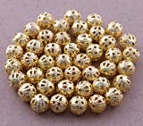 Five Season 6mm (Gold Plated) Filigree Round Metal Spacer Beads For Jewelry Making (About 200pcs)