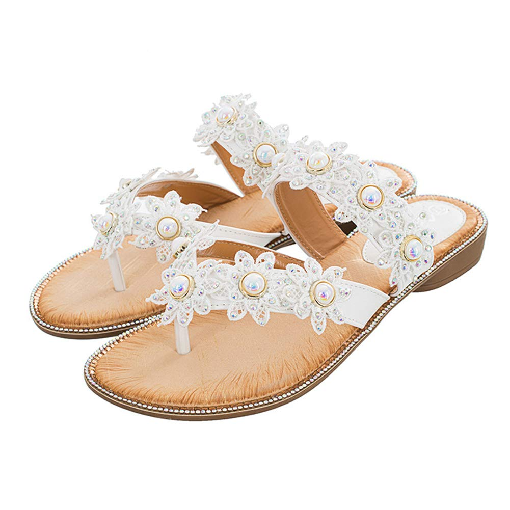Women's Jeweled Pearl White Flower Flip Flops Sandals - DeluxeAdultCostumes.com