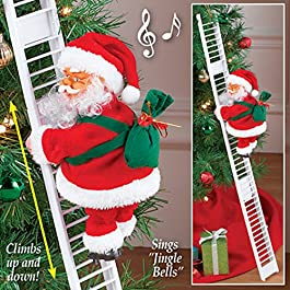 A2Z, Electric Christmas Santa Climbing Ladder Santa Claus Creative Musical Xmas Doll Sing Christmas Songs Party Decoration