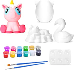 EKOOS Squishies Painting Kit for Kids, Blank Kawaii Slow Rising Cream Scented Stress Relief Kids Toys, Contains 12 Kinds of Color Paint, Brushes and Other Painting Tools, Art Gift for Girls and Boys