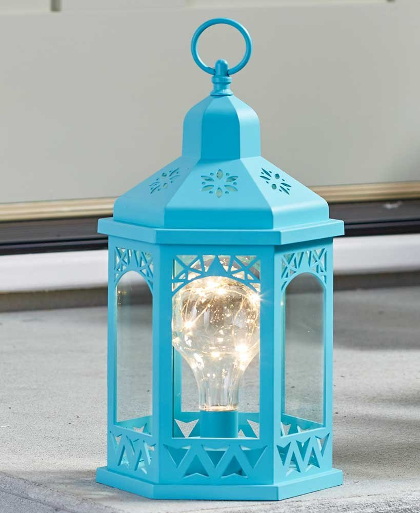 The Lakeside Collection Decorative Lighted Lantern Teal