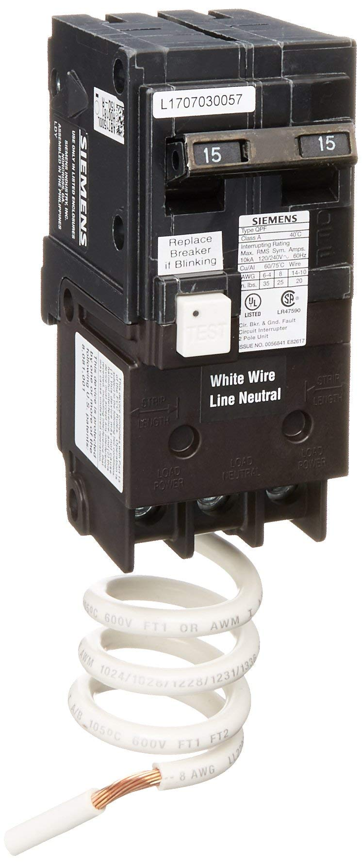 Siemens QF215A Ground Fault Circuit Interrupter, 15 Amp, 2 Pole, 120V, 10,000 Aic, (Renewed)