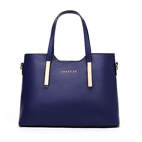 fa8fec16e89 Sine90® Ladies Women's Faux Leather Large Tote Shopper Handbags Designer  Shoulder Bag Dark Blue