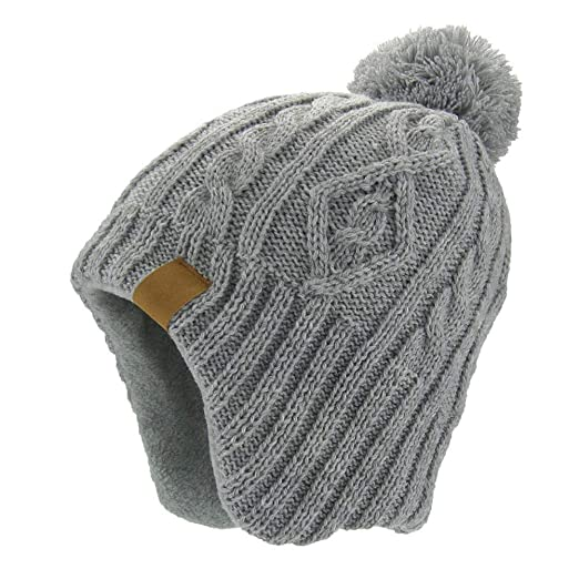 b4a66a029 Moon Kitty Baby Boys Girls Knit Hat Skiing Winter Caps With Warm Ear Flap,  Gray