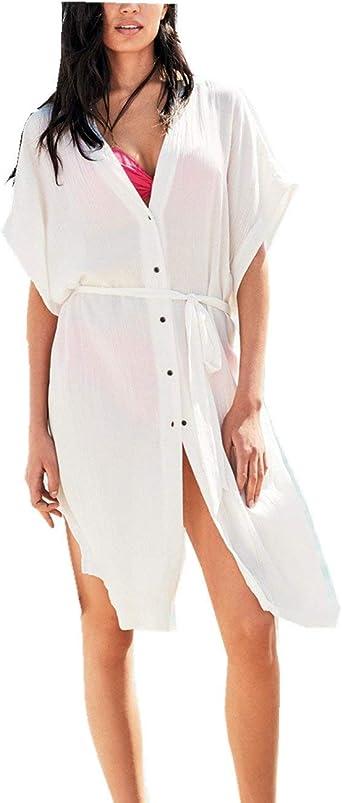 Bikini para Mujer Cubrir Verano Algodón Suelto con Cuello Tamaños Cómodos En V Túnica Camisa Larga Ropa Vestido De Playa Kaftan Vestido De Tirantes Un Tamaño (Color : Blanco, Size : One