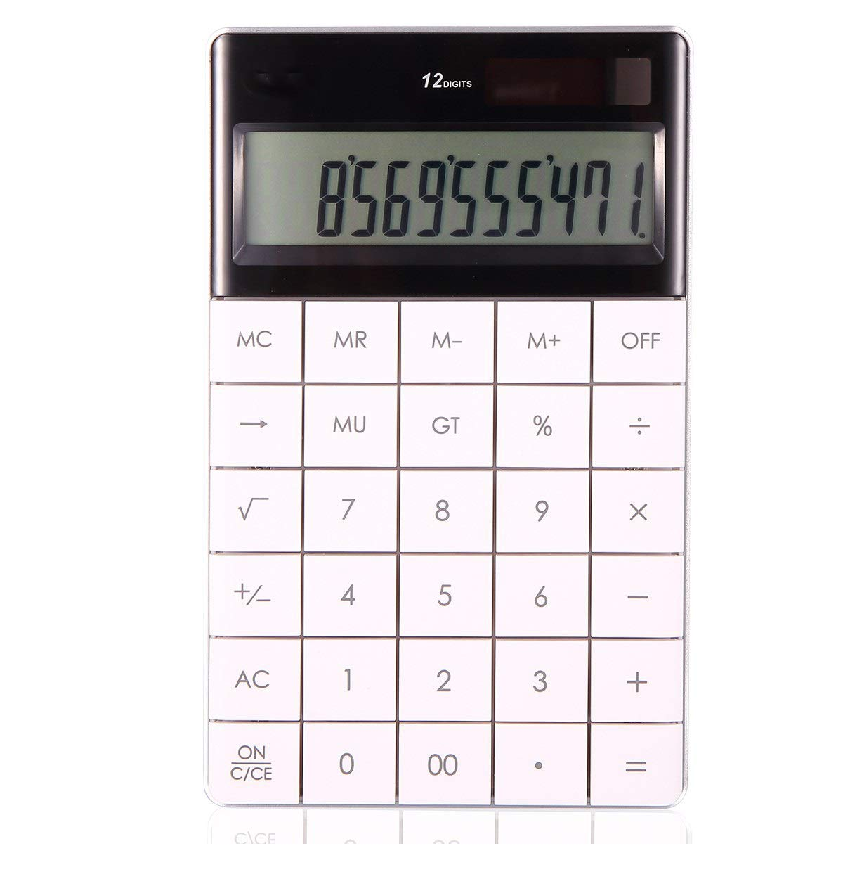 ZASEA Multi-Function Large Screen Big Button Calculator Office Learning Fashion Simple Pocket Portable White Blue 12-Digit Display Solar Energy (Color : White, Size : 160x103x12.5mm) by ZASEA