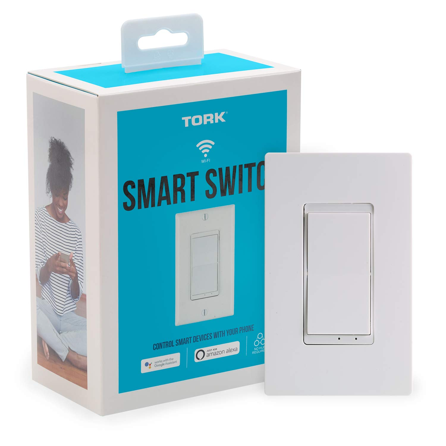 NSi Industries TORK WFIH1 Smart Switch - Indoor Standard Wi-Fi in-Wall Switch - Compatible with Alexa and Google Assistant - Remote Control/Access with Smartphone/Tablet App - No Hub Required