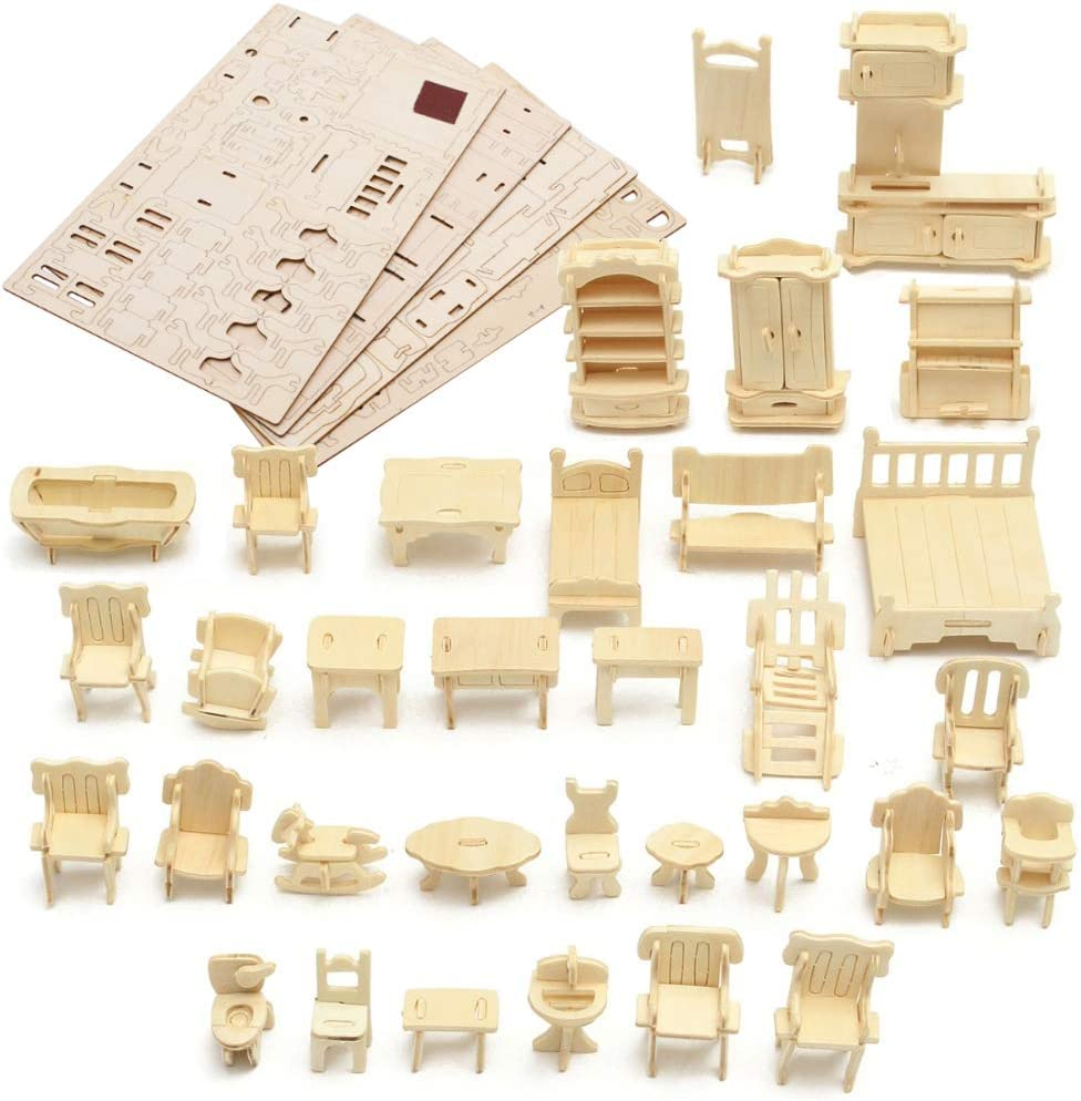 LoveInUSA 3D Wooden Dollhouse Furniture Puzzle DIY House Room Miniature Furniture Sets Puzzle Gift for Kids