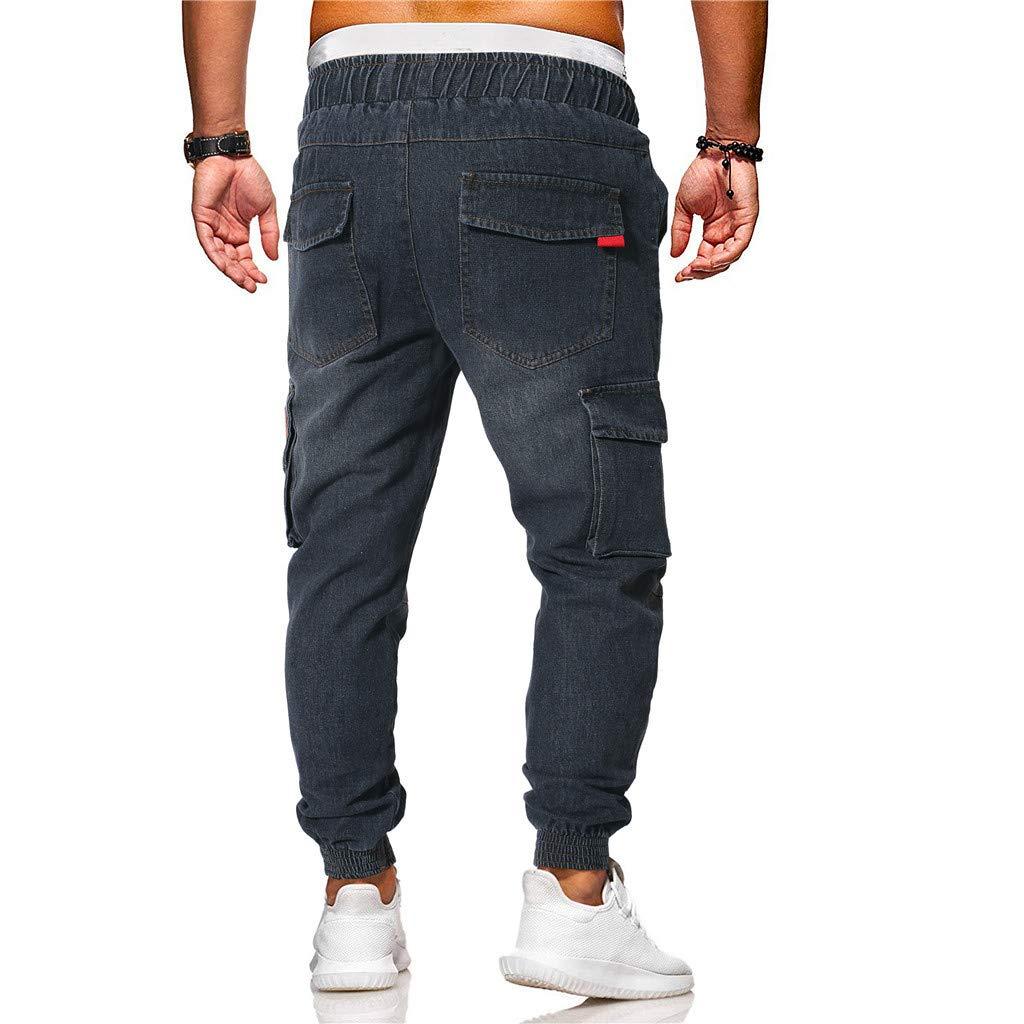 Sunyastor Jogger Cargo Men's Casual Trouser Outdoor Working Sweatpants Drawstring Elasticated Waist Outdoor Hiking Pants Black by Sunyastor men pants (Image #5)