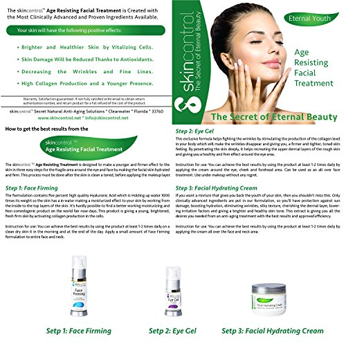 Anti Aging & Wrinkle Eye Gel Against Dark Circles Under the Eye & Puffiness – Moisturizing Cream - All Organic & Natural Components Infused with Aloe Vera, Hyaluronic Acid & Jojoba for a Youthful Skin by skincontrol Natural Care, Clear Results (Image #2)