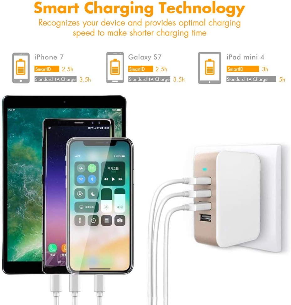 Gold USB Wall Charger Power Adapter 4-Port USB 24W Travel Charger Adapter with Foldable Plug Multi Device Smart Charging-Compatible with iPhone iPad Galaxy Samsung