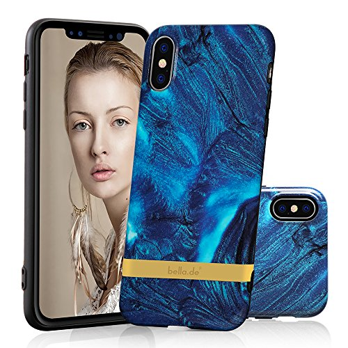 iPhone X Case Marble, iPhone X 10 Cover Shockproof Soft TPU Marble Like Texture Phone Case Blue Scratch Resistant [Support Wireless (Like Marble)