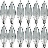 GE Crystal Clear Bent Tip Decorative Light Bulbs (40 Watt), 370 Lumen, Candelabra Light Bulb Base, 12-Pack Chandelier Light B