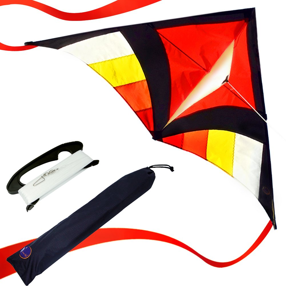 emma kites 60 inch Red Miss Sora Rainbow Delta Kite for Adults Kids Beginners Super Easy to Fly - RTF Kite Kit with Kite Tails & 320ft Kite String - Joyful for Beach Outdoor Games Activities