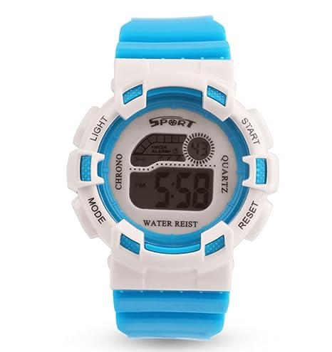 De los niños electrónico relojes colores luz nocturna reloj multifunción impermeable para al aire libre,