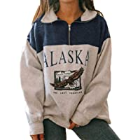 Sudadera para mujer con estampado de Alaska - Sudadera de estilo hiphop con manga larga y cremallera en la parte…