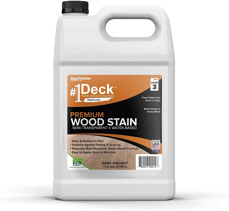 #1 Deck Premium Semi-Transparent Wood Stain for Decks, Fences, Siding - 1 Gallon (Dark Walnut)