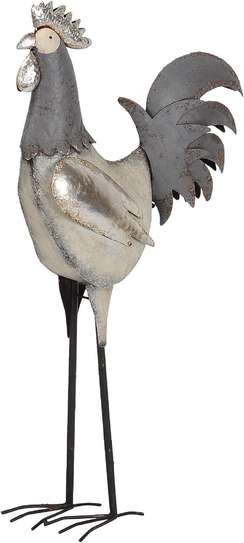 Hahn Posiwio dekorativer gro/ßer Deko-Hahn Deko-Huhn Garten-Deko Metall verzinkt grau-wei/ß 2 Motive zur Auswahl