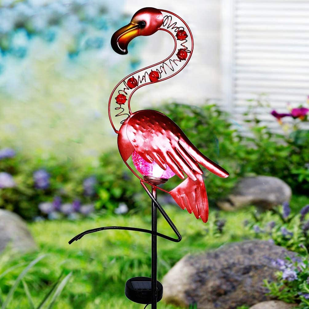 Garden Lights Solar Powered Flamingo Garden Decor Waterproof Metal Flamingo Solar Stake for Outdoor Patio Yard Decorations (Pink)
