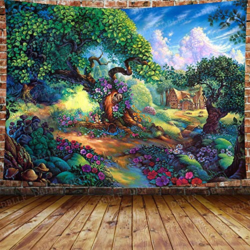DBLLF Fairytale Background Tapestry Fantasy Forest Tapestry Prince Princess and Dwarf Theme Tapestry Green Big Tree Blue Sky Flowers Background Wall Hanging Living Room Dorm 80X60 Inches DBZY1339