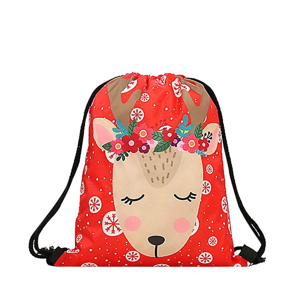 Red Flower Reindeer 6PACK Opromo 6 Pack Halloween Bag Pumpkin Pattern Print Goodie Bags for Trick or Treat