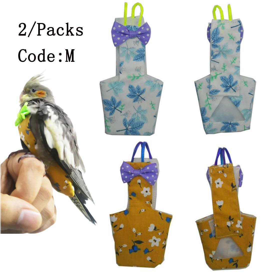 star sound source Waterproof Washable Reusable Bird Parrot Diaper Flight Suit Nappy,Soft Pet Pee Pad Suitable for Parrot Macaw, African Grey Budgie Parakeet, Cockatoos