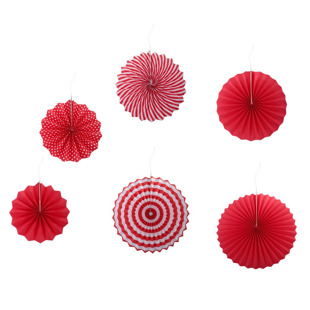 Sharplace 6pcs Eventail Rond Pliable Rosaces en Papier de Soie Pompon Suspendu Accessoire Photo Props - Multi