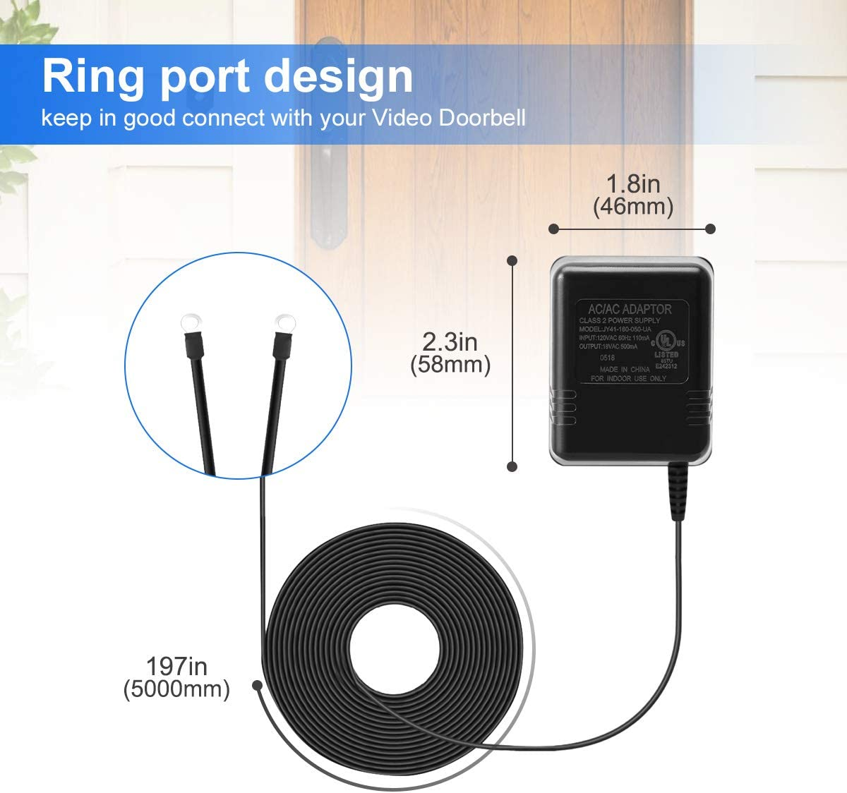 Amazon Com Lanmu Power Adapter Compatible With Google Nest Doorbell Simplisafe Eufy And Arlo Video Doorbell 18v Doorbell Transformer 16 4ft 5m Black Home Improvement