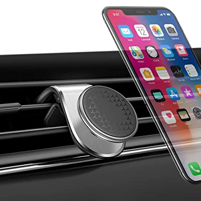 Magnetic Car Phone Mount-KL-Pro Upgraded L Type Clip Air Vent Cell Phone Holder-for Car Magnet 360 Degree GPS Holder Mount for iPhone 11 Pro Max XR XS X 8 7 Plus Samsung Galaxy Note 10 S9 S8-Silver