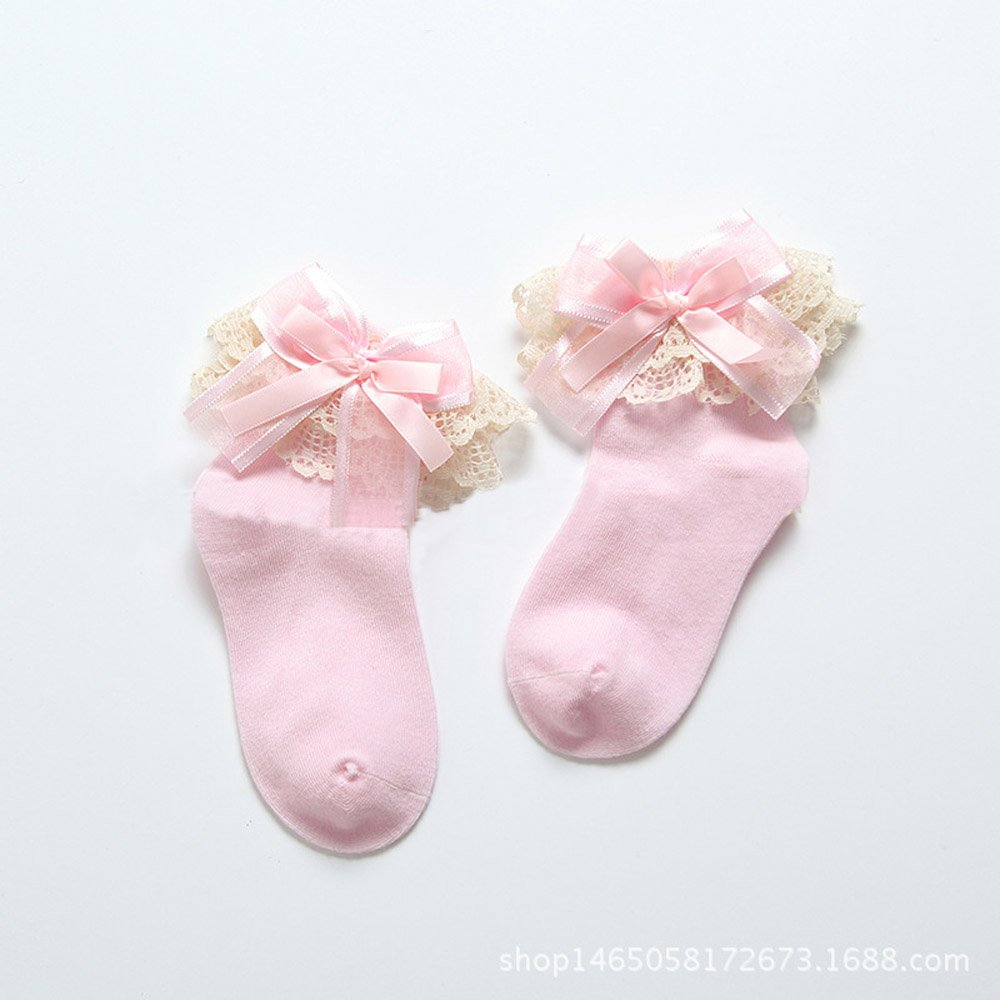 2-5 years old Refaxi Baby Girls Pink Pure Cotton Lace Bows And Lace Socks 13-15cm