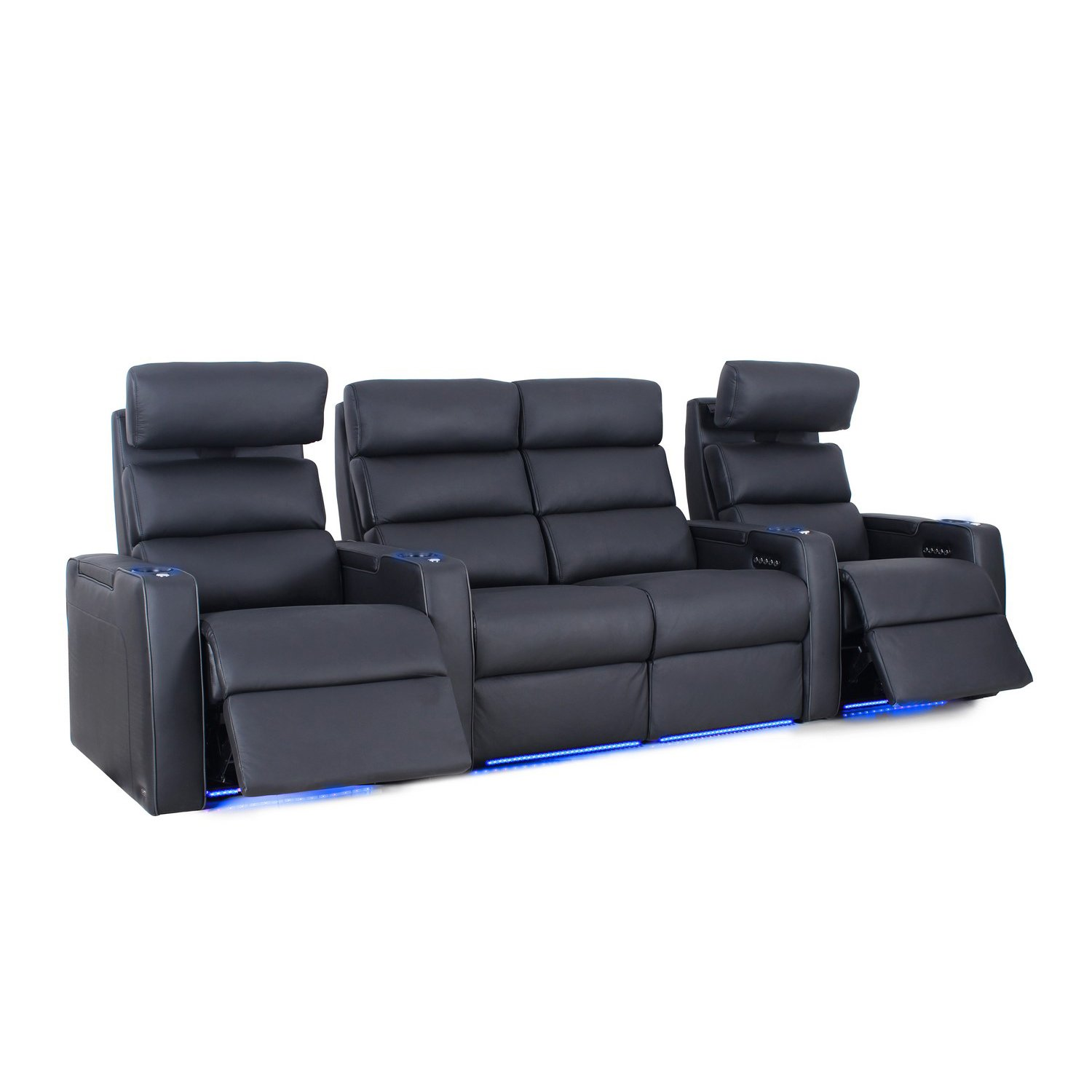 Octane Seating Dream HR Home Theater Seats - Black Top Grain Leather - Power Recline - Lighted Cup Holders - Row of 4 with Center Loveseat by Octane Seating