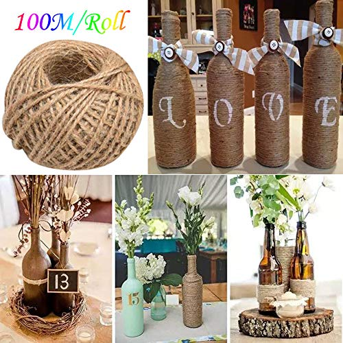 Transer 328 Feet Natural Jute Rope Ball Jute Twine, Industrial Arts and Crafts Packing String Hemp Rope Materials For DIY Craft, Scrapbooking, Festive Decoration and Gardening Applications (Brown)