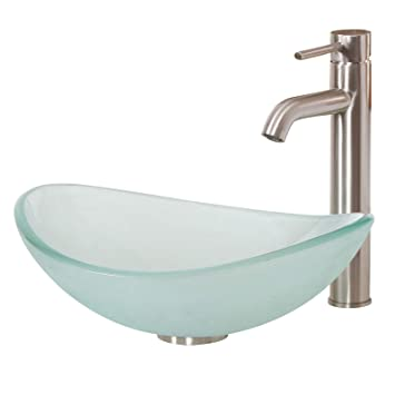 Elite Unique Oval Frosted Tempered Bathroom Glass Vessel Sink