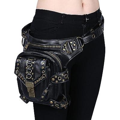 Gothic Rivet Steampunk Rock Waist Bags Packs Retro PU Leather Travel Cross body