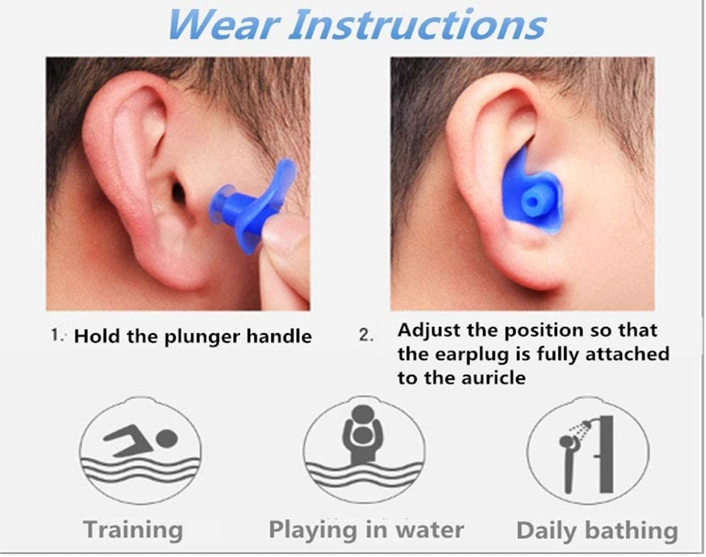 6 Pairs Suitable for Kids and Adults Hcman Waterproof Silicone Swimming Ear Plugs Reusable Swimming Ear Plugs for Swimming Showering Bathing Surfing Snorkeling and Other Water Sports