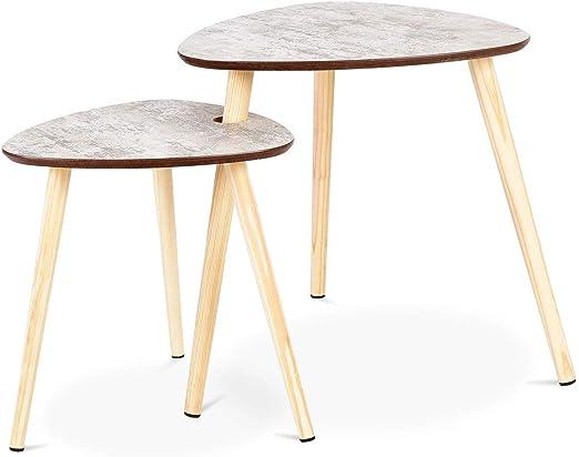 Accent Furniture Side Tables Living Room Bedroom Small End Tables Set Of 2 Modern Wood Nesting Coffee Tables Drop Shape Home Office Furniture Decor 2pcs Home Kitchen Belasidevelopers Co Ke