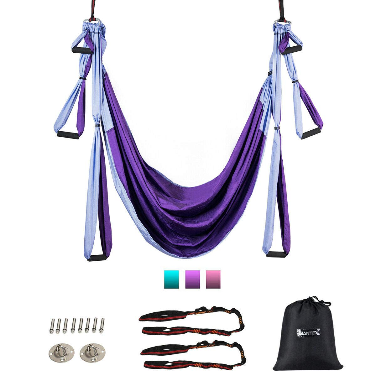 GOPLUS Aerial Yoga Swing Set, Antigravity Ceiling Hanging Toga Sling with Three Different Lengths of Handle, Yoga Swing Sling Inversion Tool, Yoga Hammock