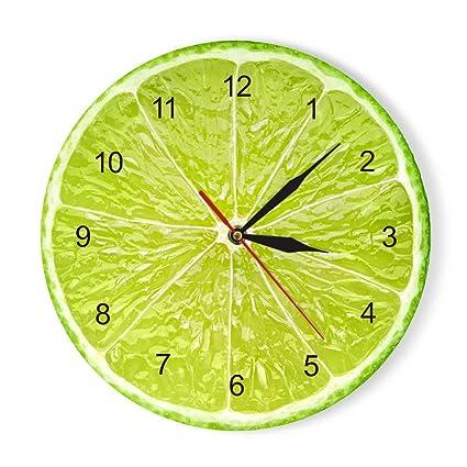 ALKLKJ Horloge Murale Jaune Citron Fruit Horloge Murale Chaux ...