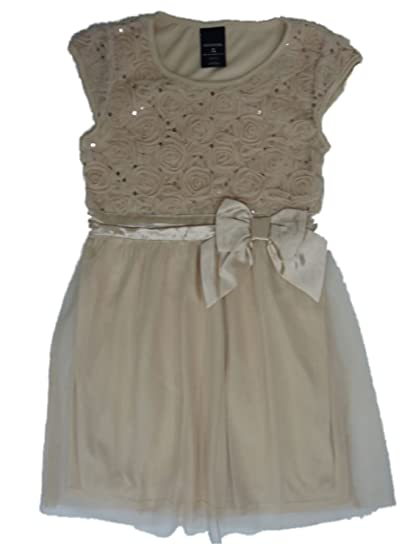 87c175b6c531f George Girl Beige Nude Sequin Holiday Party Dress Special Occasion M (7-8)