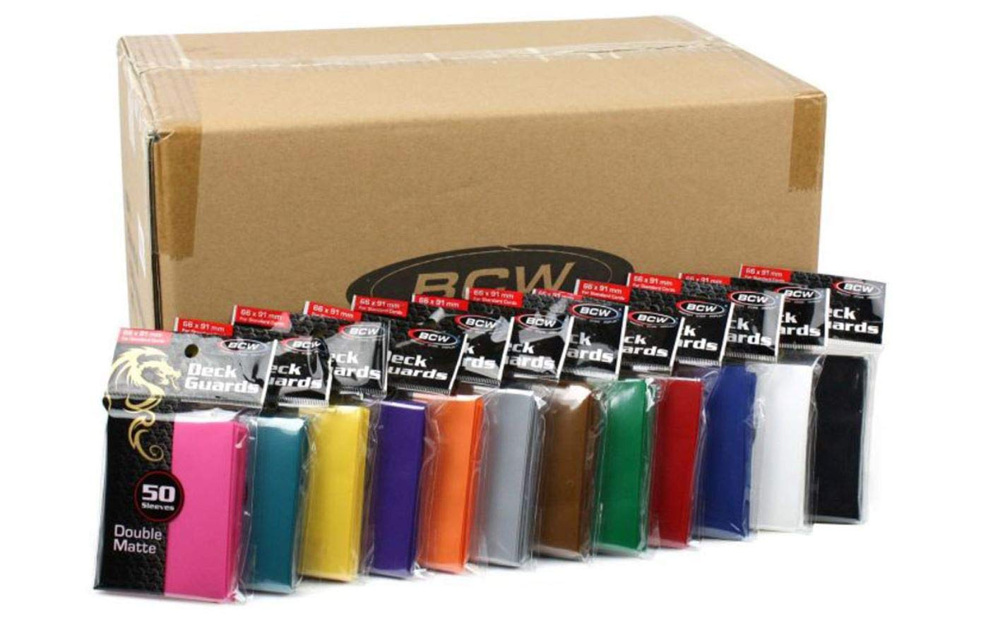 Mixed Case of BCW Double Matte Deck Guards - 12 Boxes (Each a diff Color) of Ten 50ct Packs (6,000 Sleeves Total)