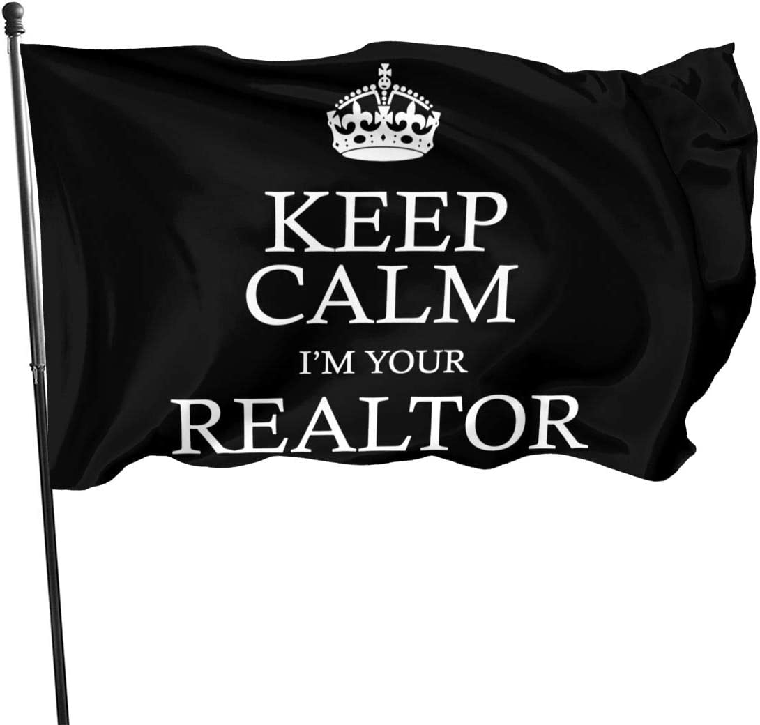 HOUDIYUANFUSHI Keep Calm I'm Your Realtor Family Garden Decor Semitransparent Home Flag Wall Decorate 35in59in