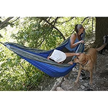 Airblasters Portable Nylon Fabric Parachute Hammock Outdoor Camping Multifunctional Hammocks(Yard Blue)