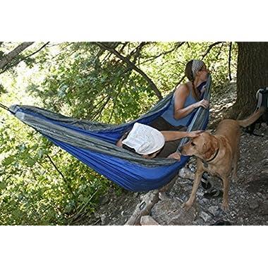Airblasters Portable Nylon Fabric Parachute Hammock Outdoor Camping Multifunctional Hammocks(Yard Blue)
