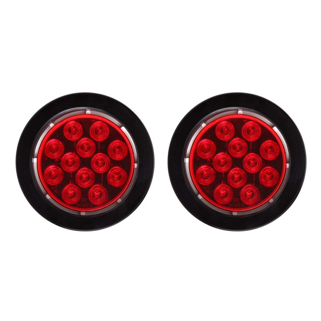 CZC AUTO Submersible Red Lens 4'' Round LED Trailer Stop Tail Turn Running Light with Grommet and Plug for Boat Trailer Truck (2Pack)