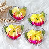 Yellow Orchids Set of 4 Hand Carved Decorative Soaps with Jasmine Aroma Essential Oil, Handmade Flower Soap Carving by Thai Artisan