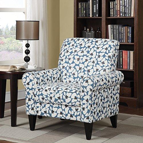 Modern Portfolio Dana Blue Modern Floral Arm Chair Kitchen Furniture Blue