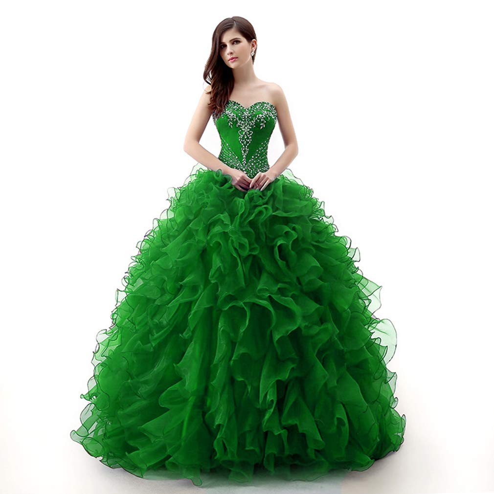Green Fashionbride Women's Organza Sweet 16 Dresses Prom Ball Gown Quinceanera Dresses ED99